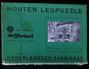 K Puzzle - Houten Legpuzzle - De Bijenkorf - Nederlandsch Fabrikaat - Meisje en paard onder bloesem boom 1
